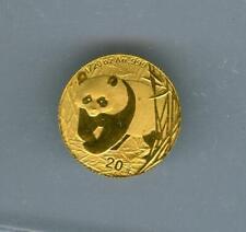 CHINA 2002 20 YUAN GOLD PANDA 1/20 OZ. .999 GOLD BU WITH RED SPOTS OPENED
