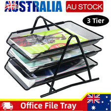 Metal A4 Paper Tray Desk Document File Organiser 3 Steel Mesh Holder Home OFFICE