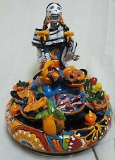 Talavera ceramic DAY OF the dead collection  Fruit  Seller made in mexico