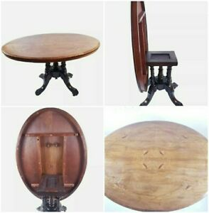 Antique Victorian Inlaid Tilt Top Oval Dining Breakfast Loo Table