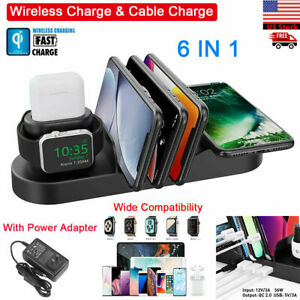 iPad iPhone Apple Watch AirPods QI Wireless Charger Holder Charging Station Dock