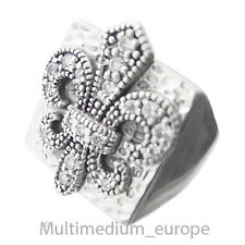 Silber Wappen Ring Strass Lilie fleur-de-lis silver ring paste lilly 🌺🌺🌺🌺🌺