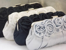 Satin Roses Pleated Bridal Wedding Prom Purse Clutch Handbag Bag UK