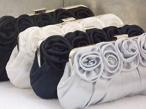Satin Roses Pleated Bridal Wedding Prom Purse Clutch Handbag Bag UK