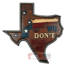 Texas Map Wall Gun Plaque We Don't Dial 911 Rustic Flag Pistol Western Decor 16""