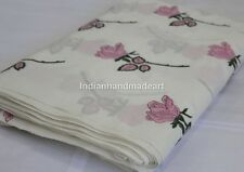 Sold By Yard  White and Pink Hand Block Motif Print 100% Pure Cotton Soft Fabric