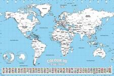 Weltkarte Poster zum Ausmalen - DIY Reise Plakat - Querformat - 91,5 x 61 cm