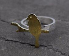 925 Sterling Silber Damen Ring Offen Statement Vogel Taube Spatz Zweig Geschenk
