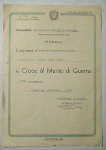 1971 - DIPLOMA CROCE AL MERITO DI GUERRA FANTE IN CONGEDO CLASSE 1898