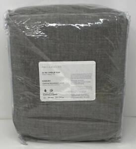 Pottery Barn Emery Linen Poletop Doublewide BLACKOUT Drape (1) ~ 100 x 108 Gray