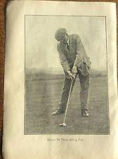 Antique Golf Memorabilia Photo of James Braid Golfing Print How to Play Pull