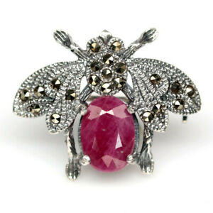 NATURAL 7 X 10 mm. RED RUBY & MARCASITE 925 STERLING SILVER INSECT BROOCH