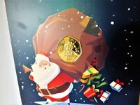 24ct Gold Plated 2017 Gibraltar 50p Coin Father Christmas Card Fifty Pence Santa