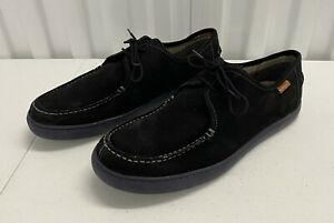 Men's Hush Puppies Lace Up Loafer/Oxford Suede Shoes Black Size 11