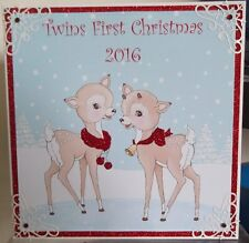 handmade personalise baby's First christmas card with twins reindeer in red
