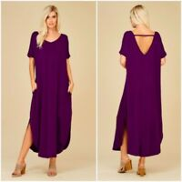 NEW Large Maxi Dress Cut Out Low Back Jersey Short Sleeve Oversized Purple NWT L