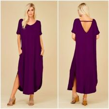 S Small Dress Maxi Cut Out Low Back Jersey Short Sleeve Oversized Purple New NWT