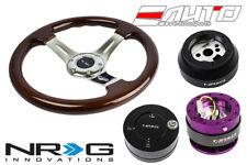 "NRG 330 BR Wood CH S Steering Wheel 1.5"" D 170H Hub 2.0 Purple Release Lock LB a"