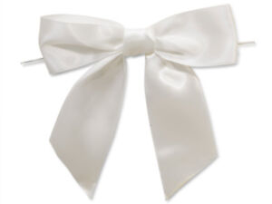 """12 White 5"""" tied Satin Bows 6"""" Twist Ties 1.5"""" Ribbon All Occasion Favors Gifts"""