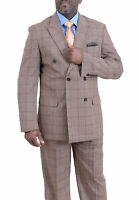 Mens 46L Steven Land Classic Fit Tan With Brown Windowpane Double Breasted Suit