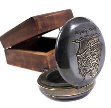 Antique Finish & Brass Nautical Compass Hardwood Box Plain Push button Solid Gif