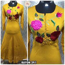 """44"""" XL Rayon Cotton Kurti Kurtis Top Kaftan Indian Bollywood Kurty Yellow A120"""