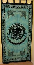 Pagan Pentacle Moon Curtain Colorful Wall Hanging Cotton Teal Tapestry  #CT68TR
