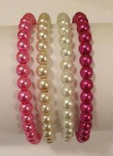Set of 4 Pink White Fuchsia Mix Glass Pearl Bead Bracelets - NEW