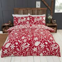 Rapport Woodland Woodcut Reversible Floral Rabbit Duvet Cover Bedding Set Red