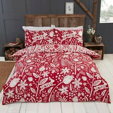 Rapport Woodland Woodcut Reversible Floral Rabbit Duvet Cover Bedding Set Red