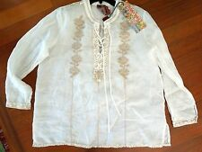 Johnny Was 3J Laceup  beige Embroidery on White Ramie voile long sleeve Tunic L