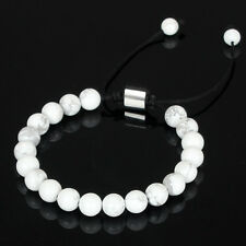 Mens AAA White Howlite Stone Beads Shamballa Lucky Macrame Beaded Bracelet