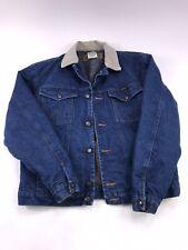 VTG WRANGLER BLANKET LINED WESTERN Jean Jacket Denim 38 Corduroy Collar 80s 90s