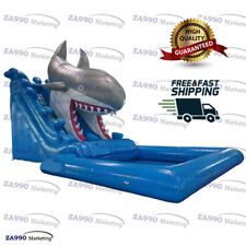 Commercial Inflatable Shark Bounce Slide & Pool With Air Blower