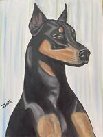 Original oil painting artwork Doberman pinscher dog 11 x 14 signed canvas
