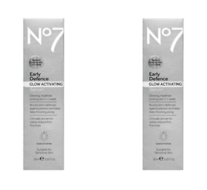 2 Pack No7 Early Defence Glow Activating Serum 1 oz Each
