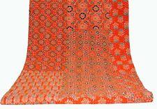 INDIAN KANTHA Patchwork QUILT QUEEN BEDSPREAD BLANKET THROW Vintage orange