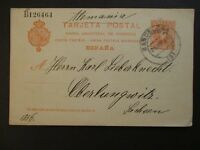 1856 Barcelona Spain to Oberlungwitz Germany Postal Stationary Postcard Cover