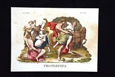 Il Ratto di Proserpina Incisione colorata a mano del 1820 Mitologia Pozzoli