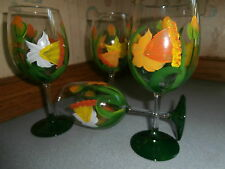 HAND PAINTED DAFFODIL AND DRAGONFLY GOBLETS / SET OF 4- 10 OUNCES EACH