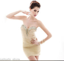 Strapless Crystal Embellished Neckline Bust Mini Prom Party Dress Gold 30097
