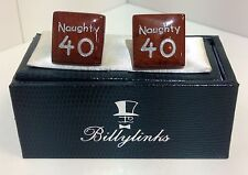 Billylinks Silver Plated Naughty 40 Birthday Cufflinks Gift for Him Stocking Fil
