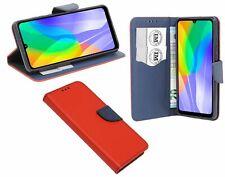 Cuero De La PU Funda Protectora Accesorio Cartera para Huawei Y6P En Rojo-Azul