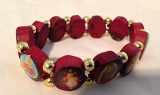 New- Mahogany Religious 12 Saints Stretch Bracelet With Gold Beads (Circle)