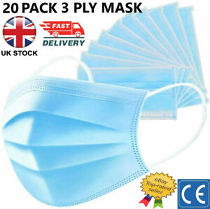 Face Mask X 20 Protective Covering Mouth Masks  *UK STOCK*