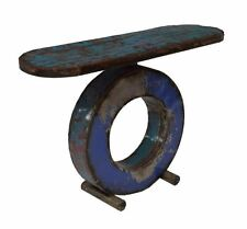 Contemporary Polychrome Metal Console Table Industrial Art