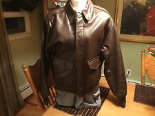 BROWN AVIREX  A-2 USAF FLIGHT BOMBER LEATHER JACKET  SIZE 42