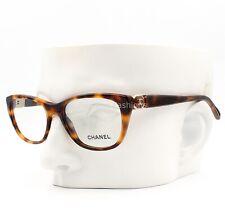 Chanel 3285 1425 Eyeglasses Frame Glasses Brown Havana Gold CC Logo 52-17-140
