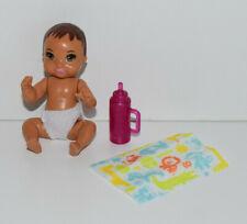 BARBIE *SKIPPER BABYSITTERS INC* HISPANIC BABY DOLL, PINK BOTTLE, BLANKET