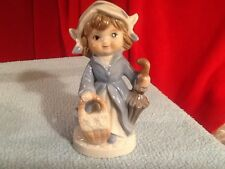 Vintage Blue and White Porcelain Dutch Girl Figurine Marked